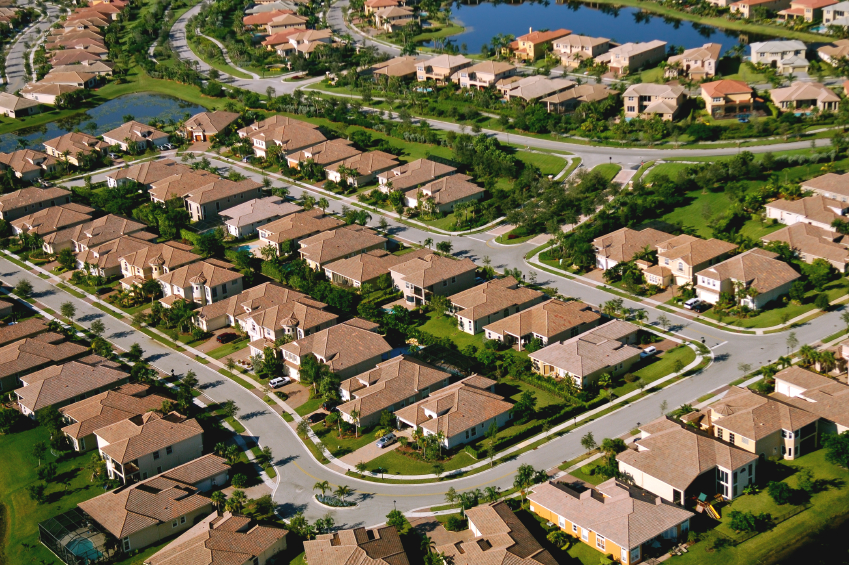 aerial view of south florida suburban residential area